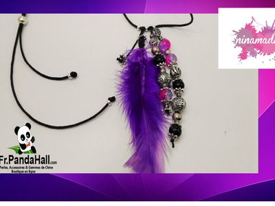 DIY.Tuto10. Collier avec perles et plume.Fr.Pandahall.com