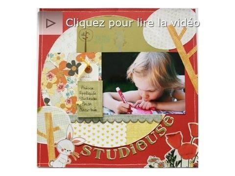 Atelier scrapbooking tutoriel page avec fausse couture technique français