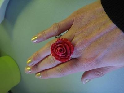 Diy bague rose fleur fimo tuto bijoux