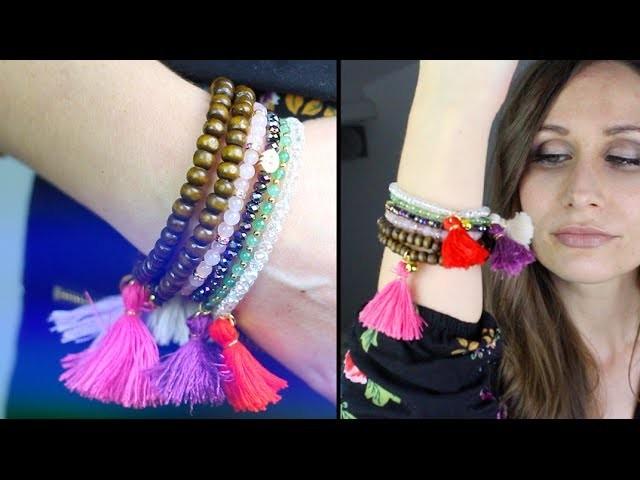 DIY  : Bracelet pompon - bracelet tibetain - Beaded Tassel bracelet - Tibetan bracelet english subs