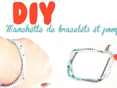 DIY # TUTO Manchette de bracelets en perles et pompon