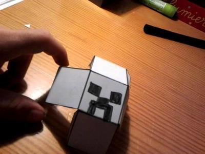 Tuto faire une tete de creeper papercraft minecraf