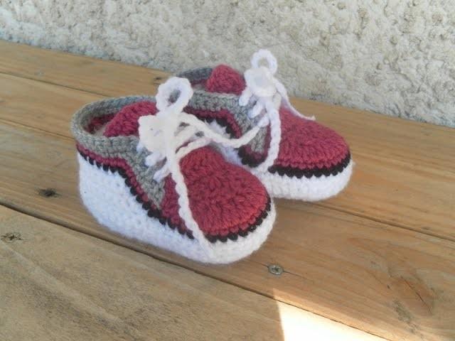 Baskets bébé  partie 1. Zapatitos bebe a crochet parte 1