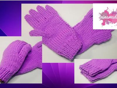 DIY. Comment tricoter des gants avec deux aiguilles!!