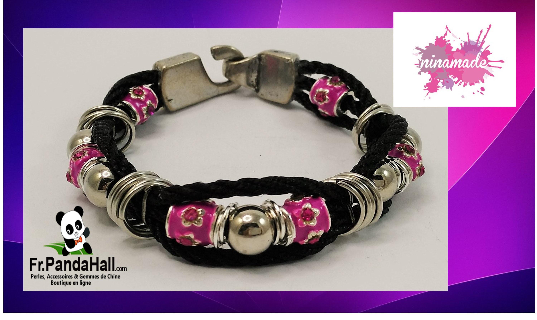 Tuto8. DIY. Bracelet avec 3 fils et perles argent.émail.Fr.PandaHall.com