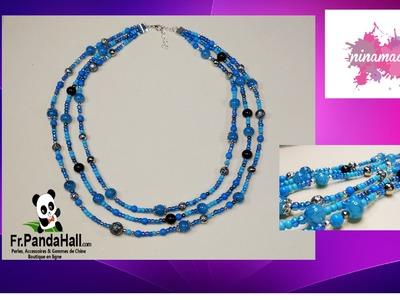 DIY.Tuto 12. Triple collier avec des perles turquoises. Fr.PandaHall.com