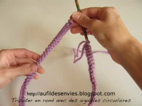 Tricoter en rond avec des aiguilles circulaires - Comment tricoter avec des aiguilles circulaires ...