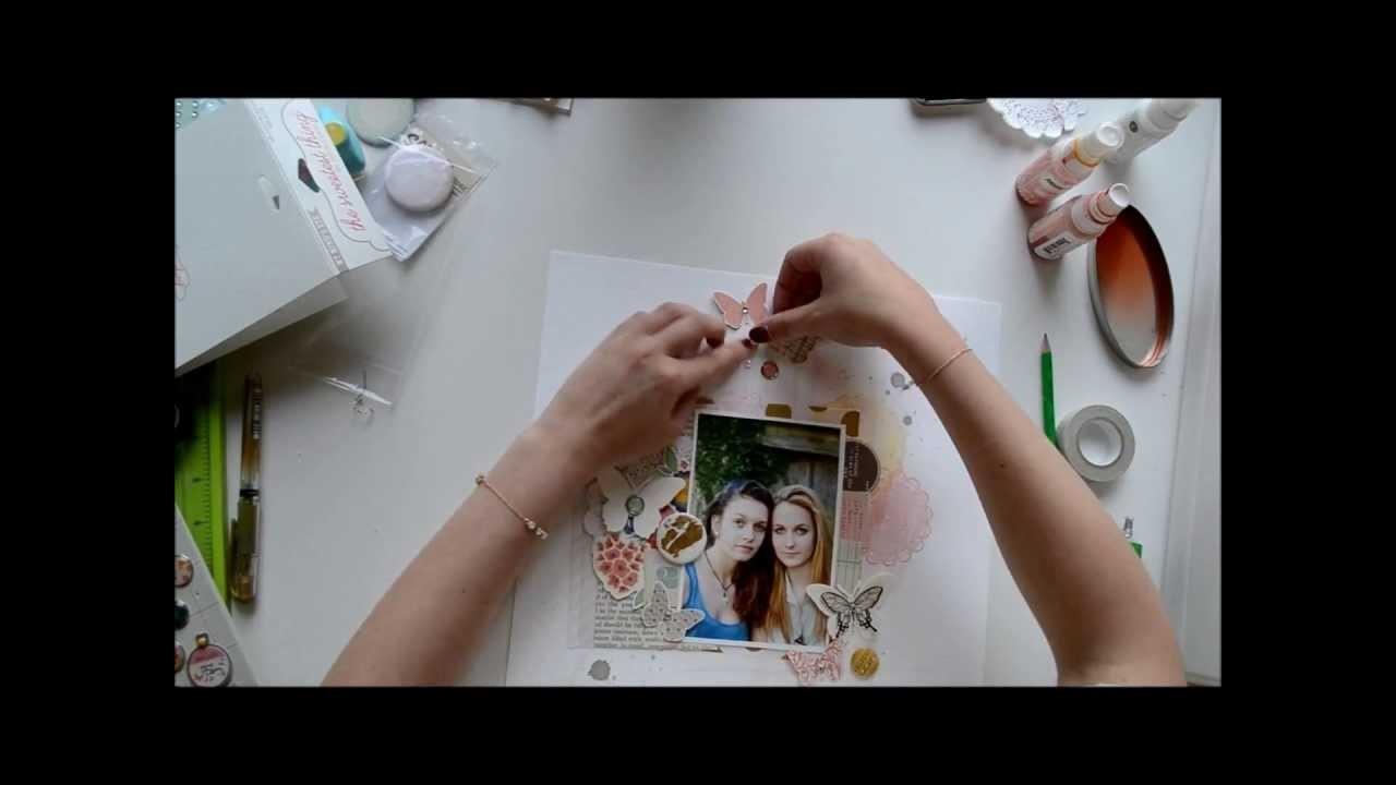 Scrapbooking process - Page scrapbooking - my love, avec scrapbuttons