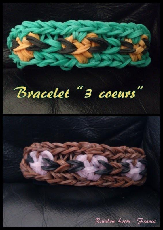 Bracelet 3 coeurs Rainbow Loom® Tutoriel Français (Niveau Intermédiaire)