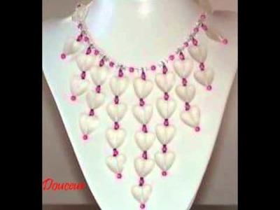 Colliers de perles, crochets et crystal