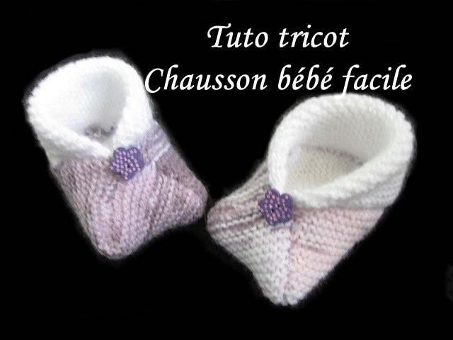 Tuto tricot chausson bebe 3 carres au tricot facile et rapide - Tuto tricot debutant gratuit ...