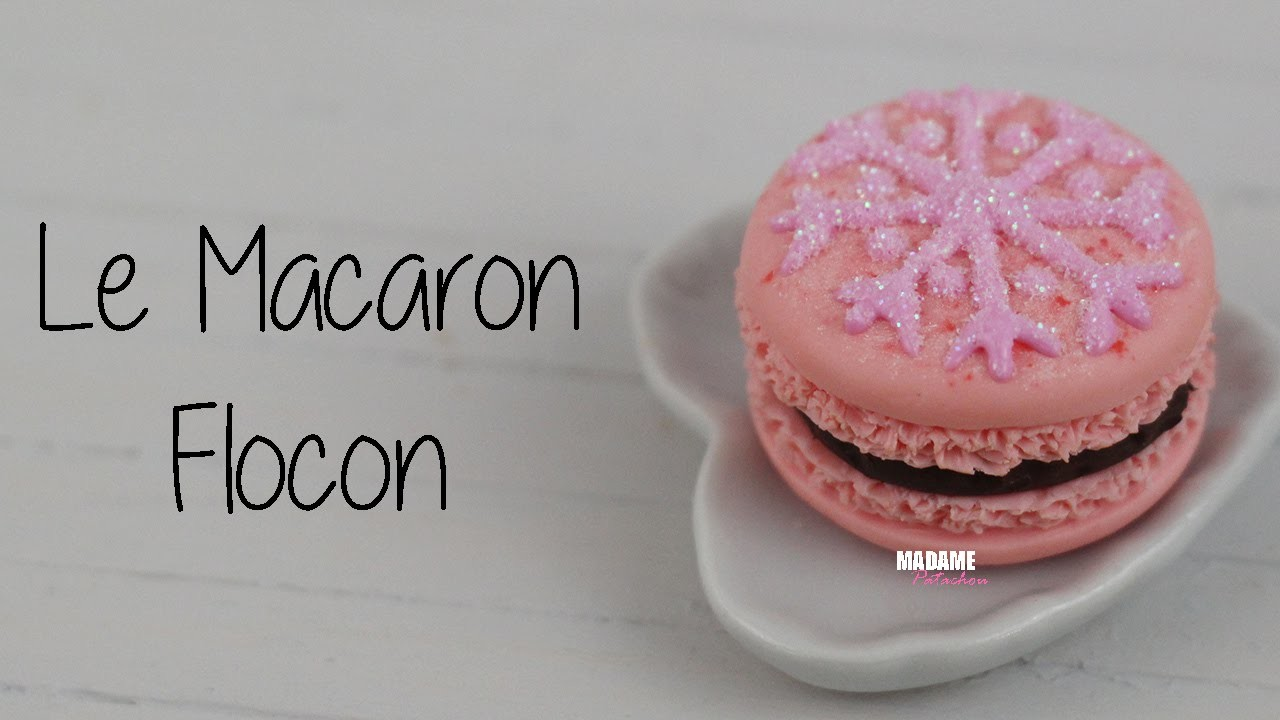 Macaron Flocon.French Macaroon (Tuto Fimo.polymer clay tutorial)