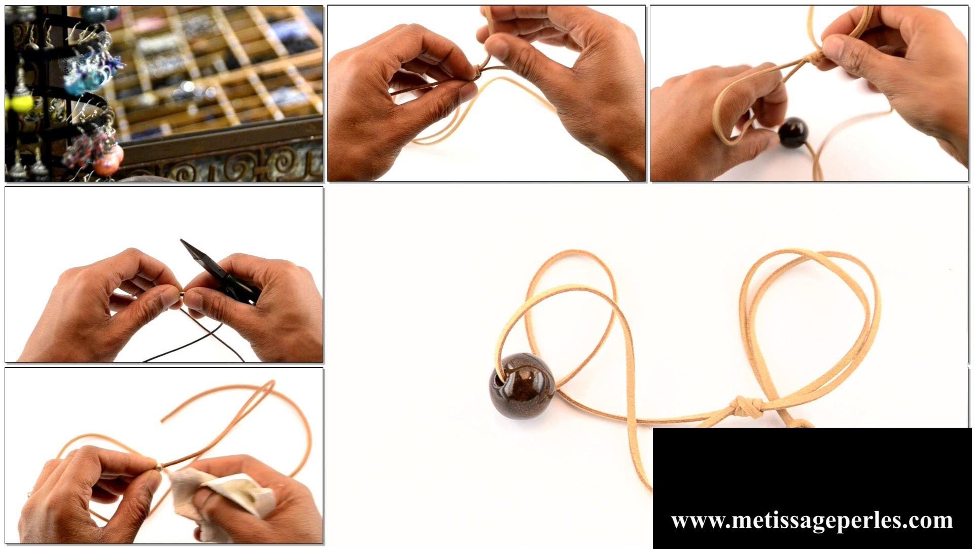 Comment faire un bijoux sur cordon de cuir : pendentif