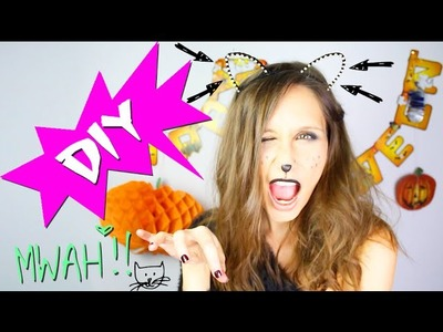 DIY HALLOWEEN : SERRE-TETE CHAT AVEC QUEUE - COSTUME PETIT BUDGET - cat ears headband (english subs)