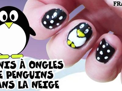 Facile DIY Français: Vernis à Ongles Penguins dans la Neige | Penguin Nail Art | DIY French Style