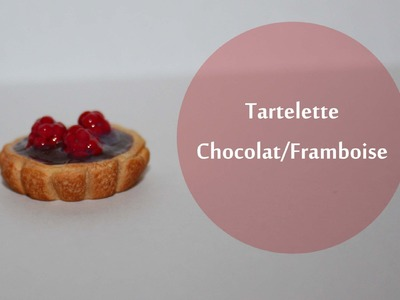 Tartelette Chocolat Framboise. chocolate raspberry tart in polymer clay