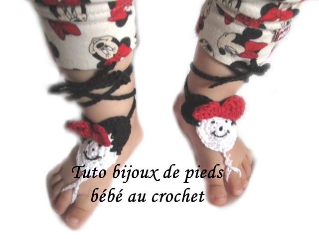 TUTO CROCHET SANDALES BIJOUX DE PIEDS BEBE MINNIE CROCHET FACILE PATTERN BABY BAREFOOT CROCHET