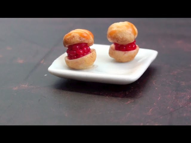 ✎ Tuto Fimo: Choux à la framboise. Polymer clay raspberry puff tutorial
