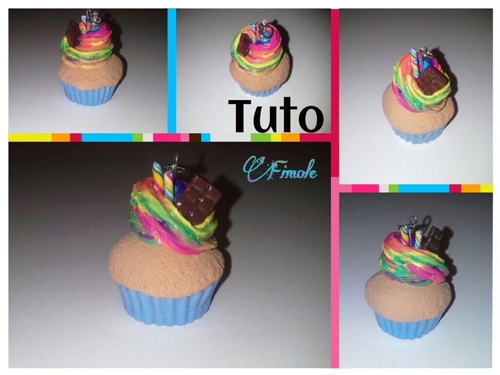 Tuto fimo cup cake chantilly multicolore. polymer clay cup cake multicolored chantilly