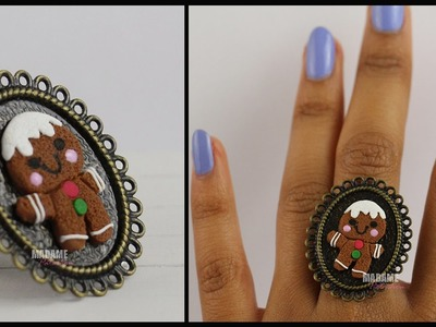 Box Bague Bonhomme Pain d'Epice. Gingerbread Man (Tuto Fimo.Polymer clay tutorial)