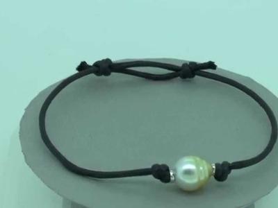 Bracelet cuir ajustable avec perle d'Australie - www.e-bijouterie.com