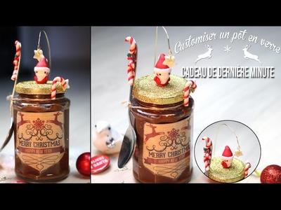 DIY CADEAU DERNIERE MINUTE : Customiser un pot en verre - fimo et paillettes - Last minute gift