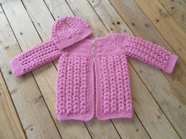 Ensemble brassière et bonnet bébé crochet épis de blé partie 1 brassière