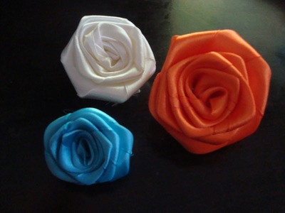 Faire une fleur en ruban de satin trés facil  a flower with the satin ribbon
