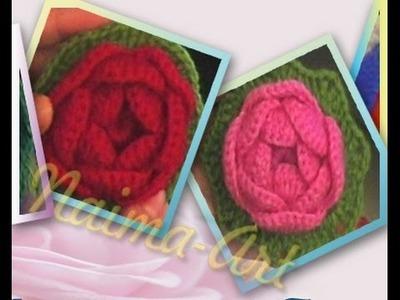 Fleur rose au crochet وردة الجوري بالكروشيه