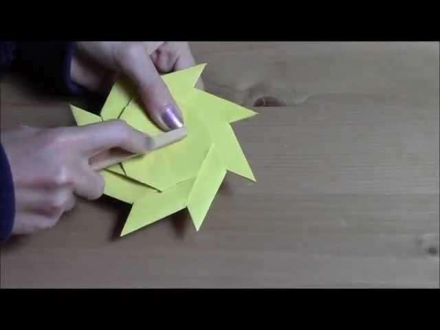 Origami: moulin à vent réalisé à partir d'un frisbee