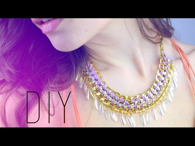 TUTO - DIY : COLLIER PLASTRON - Plastron Woven Chain Collar Statement Necklace (english subs)