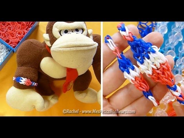 Bracelet élastiques Rainbow Loom enfant bleu blanc rouge spécial foot