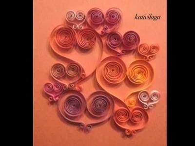 Carte St-Valentin en Papier roulé - Quilled Valentine's day card