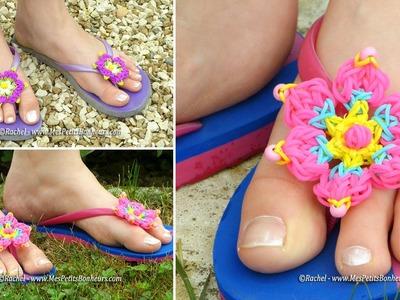 Fleur en élastiques Rainbow Loom pour tongs - Tuto niveau avancé
