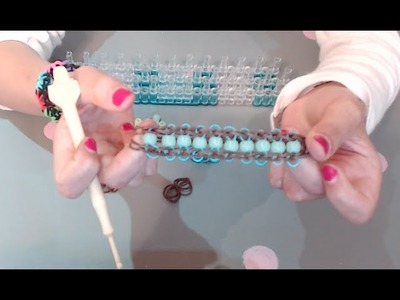 Tuto loom, bracelet élastique large et perles