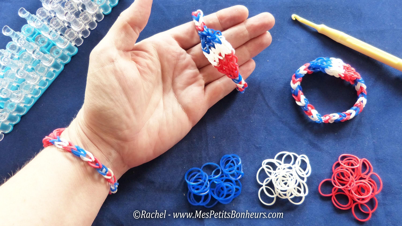 Bracelets élastiques bleu blanc rouge France spécial Mondial de foot