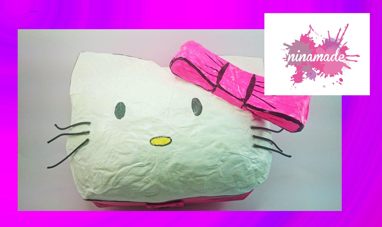 """DIY. Boîte """"Hello Kitty"""" en papier maché.( Demande.Petición)"""