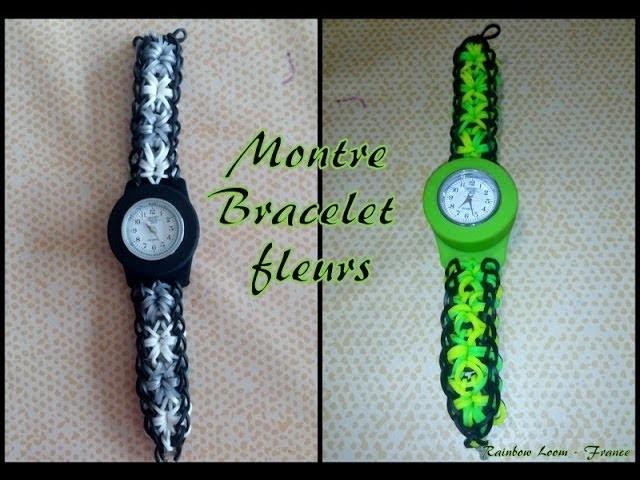 Montre Bracelet Fleurs Rainbow Loom® Tutoriel Français (Niveau Intermédiaire)