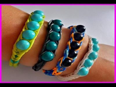 Bracelet élastique SHAMBALLA - RAINBOW LOOM  avec des perles  ( en français)