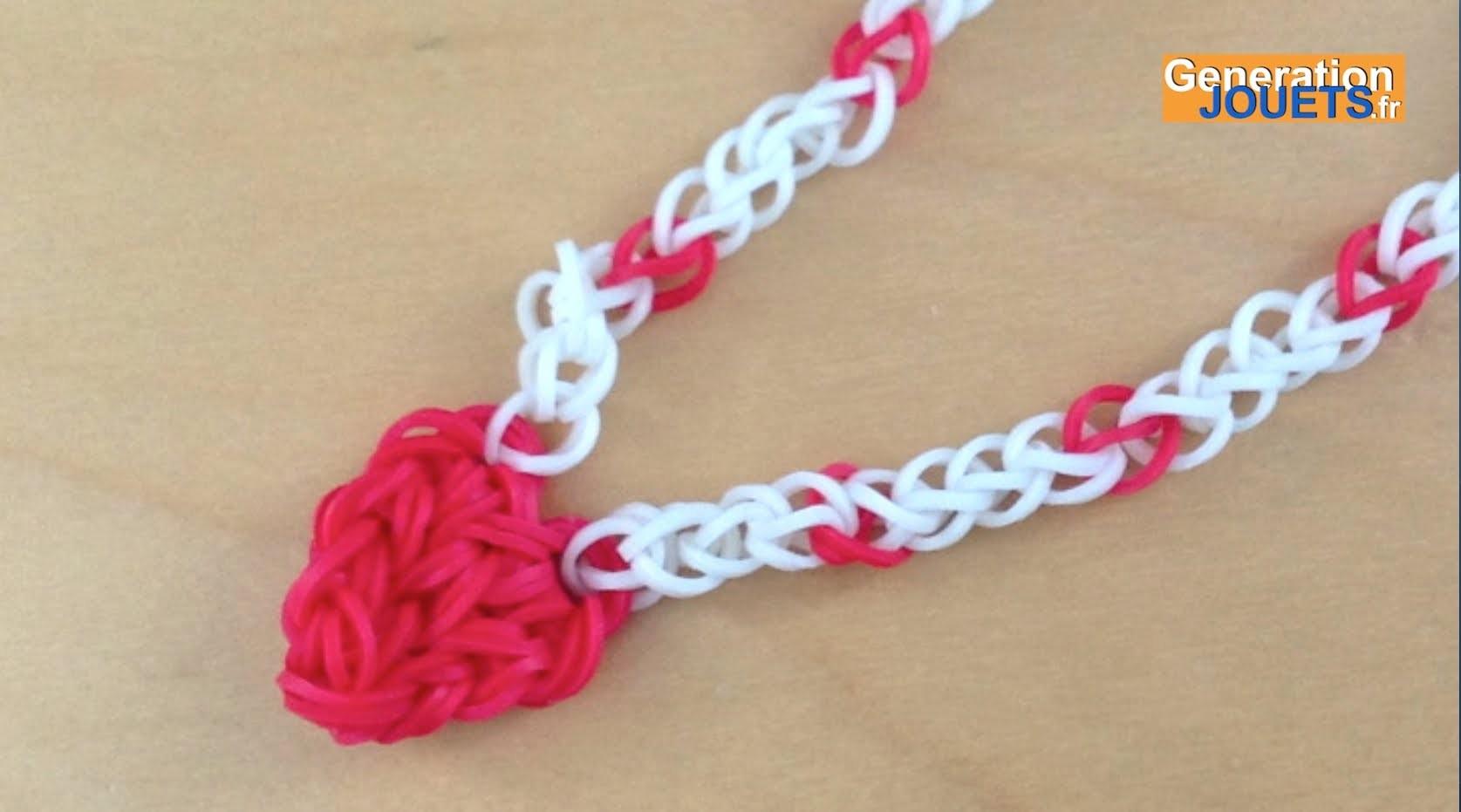 Créer un collier avec pendentif coeur Rainbow Loom en français