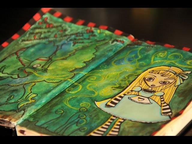 Art journal mixed media # Alice et la chenille - speed drawing