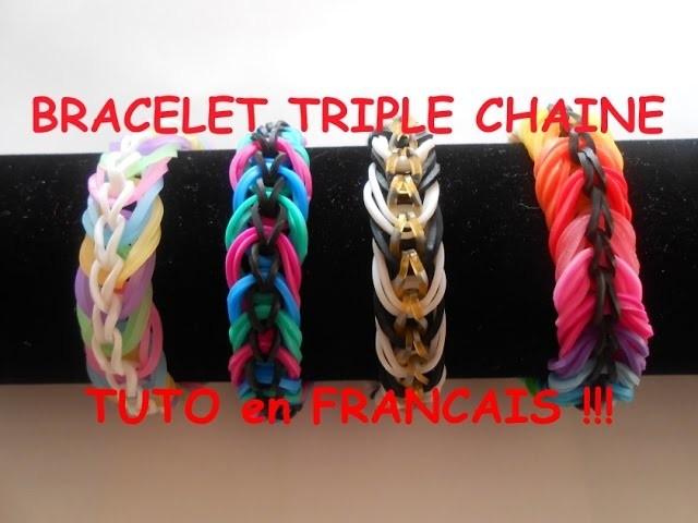 Bracelet élastique loom TRIPLE CHAINE ANNEAUX  FACILE  TUTORIEL en FRANCAIS niveau DEBUTANT