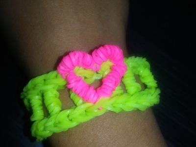 Bracelet avec Coeur en Loom Tutoriel en Français
