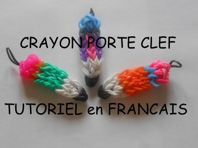PORTE CLEF CRAYON EN ELASTIQUE LOOM tutoriel FRANCAIS