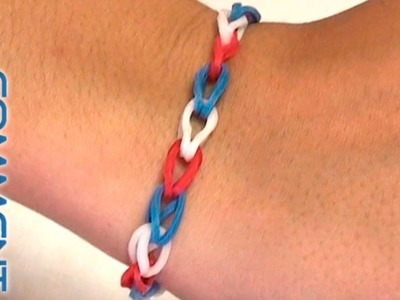 Tutoriel bracelet simple Rainbow loom Bleu Blanc Rouge