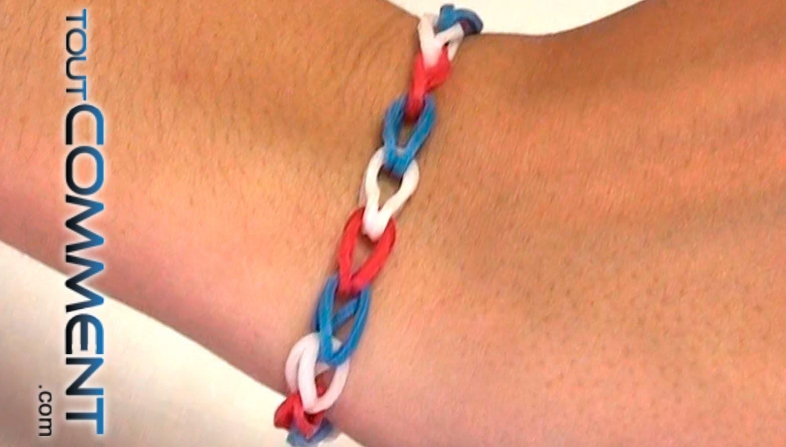 Tutoriel bracelet simple Rainbow loom Bleu Blanc Rouge