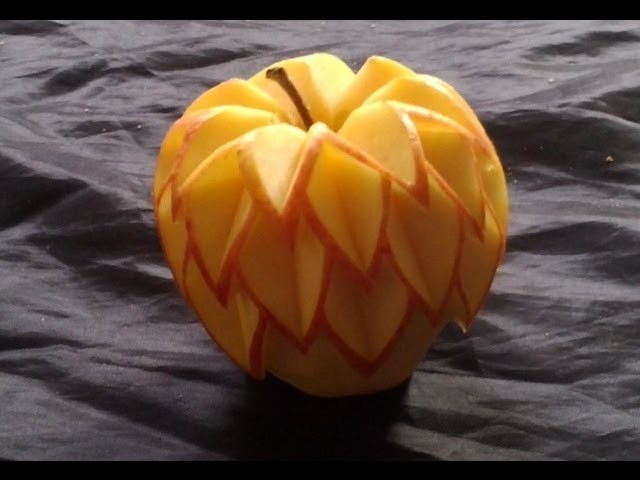 Décoration simple sur pomme, learning free Fruit Carving, apple carving