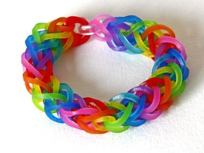 TUTO : bracelet élastique double tresse arc en ciel - Rainbow Loom (en Français)