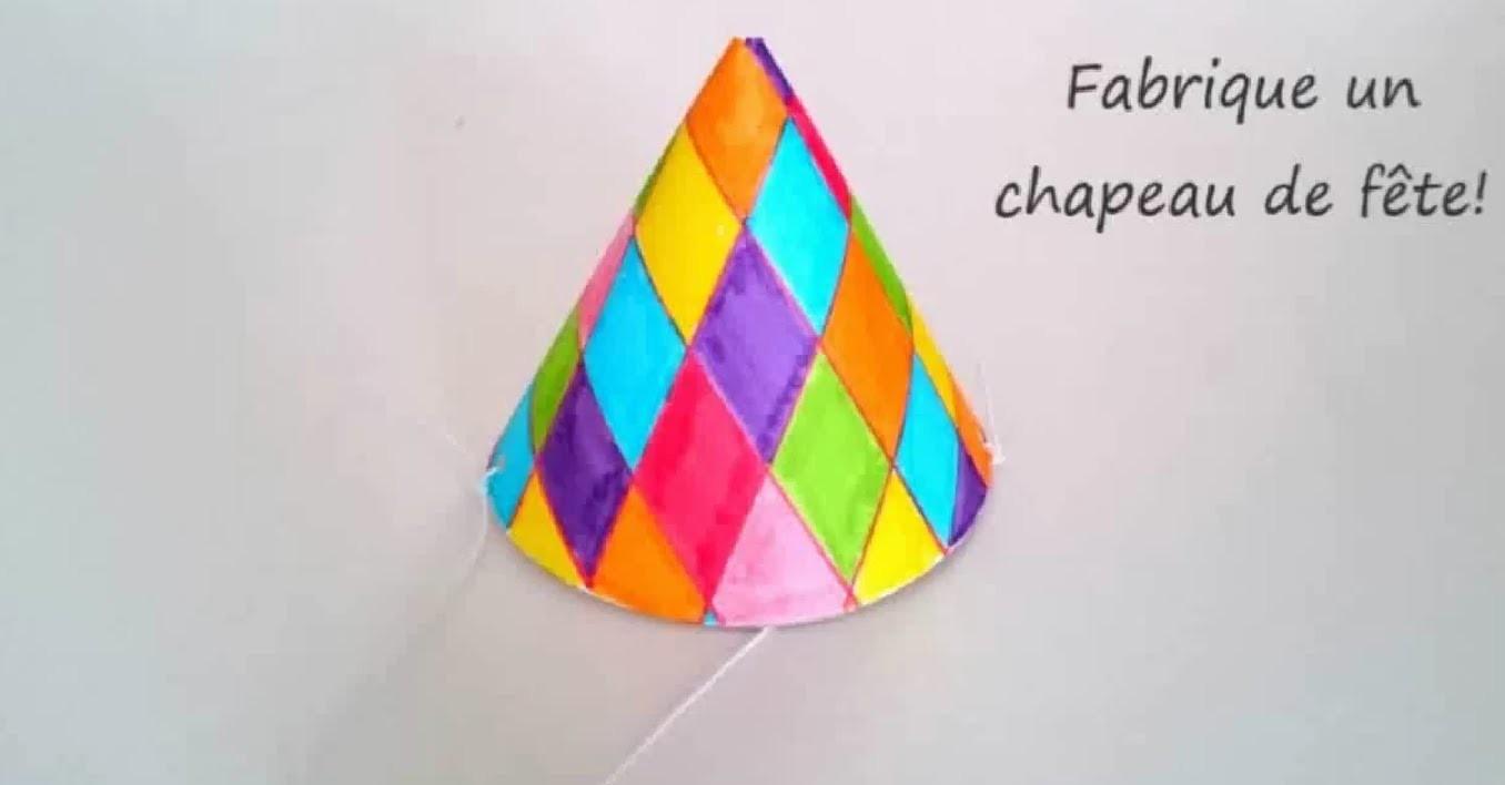 Tuto fabriquer un chapeau de fête. Carnaval pour enfant.
