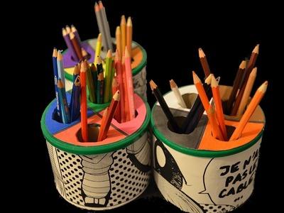 Recycler boite de lait en pot à crayon